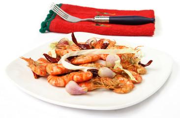 Dish of prawns