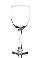 empty glass of wine isolated on white