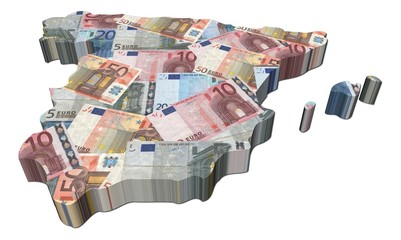 Spain map 3d render with euros illustration