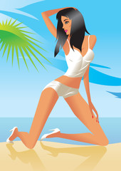 Sexy model at the beach - vector illustration