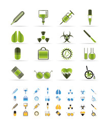 collection of  medical themed icons and warning signs