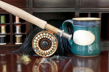 Fly rod and reel on desk