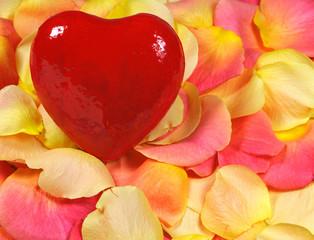 Heart on rose petals