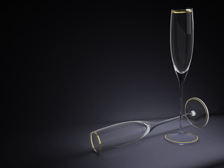 two wineglasses 3D illustration