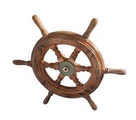 ship wheel over white