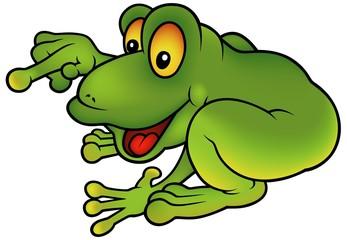 Happy Green Frog - cartoon illustration