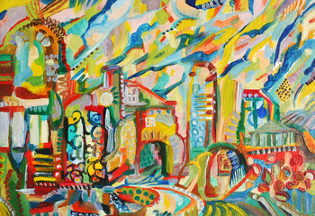 abstract city oil painted picture