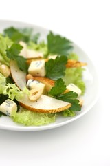 salad with pears, blue cheese and parsley