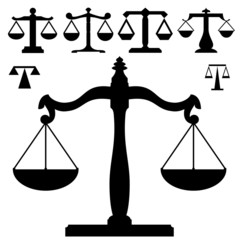 Weight or justice scales in vector silhouette