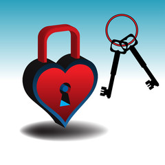Colorful heart as padlock