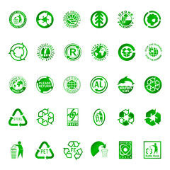 Recycle and environment symbols
