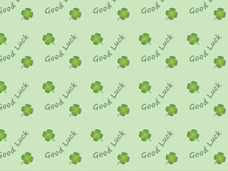 """""""Good Luck"""" pattern with four leaf clover (symbol background)"""