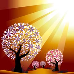Abstract trees on golden burst light background