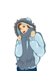 illustration of a girl in a warm winter jacket
