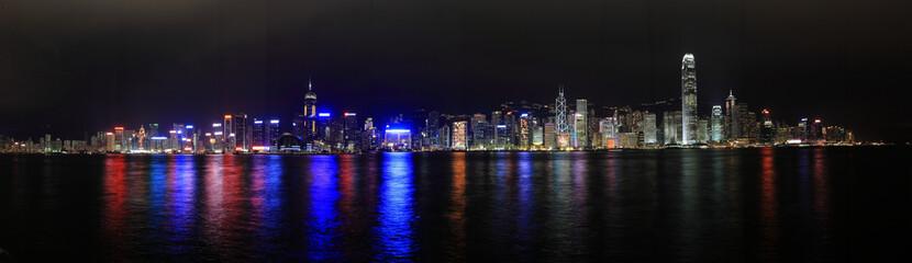 Hong Kong at night panorama