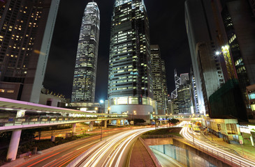 traffic through downtown in Hong kong