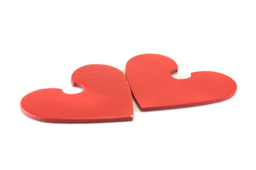 two wooden heart