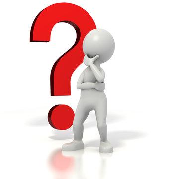 Stick man question mark thinking