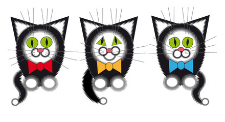 Three gay black cat