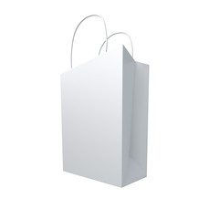 Clean white shopping bag on isolated white background
