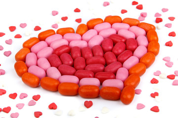 Heart from candies