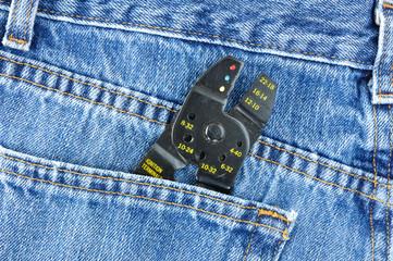 Wire Stripper in Blue Jeans Pocket