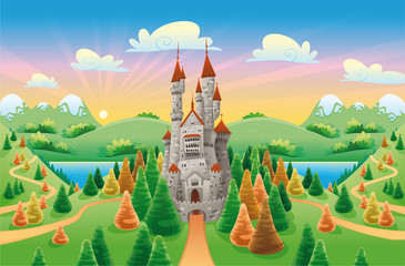 Panorama with medieval castle. Cartoon and vector illustration