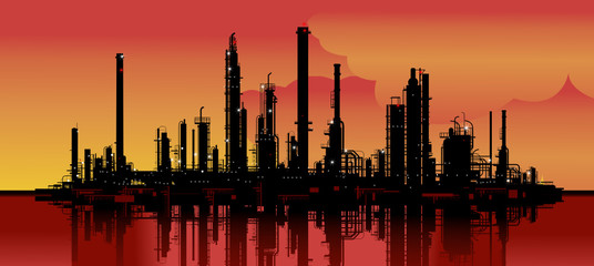 Wall Murals Art Studio Vector illustration of an oil refinery