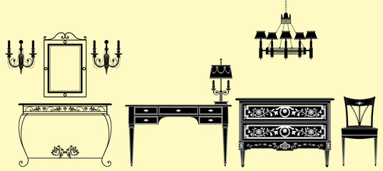 Printed roller blinds Art Studio Vector illustration of original antique furniture collection