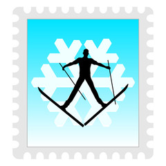 stamp with winter sport