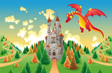 Poster Chateau Panorama with medieval castle and dragon. Vector illustration