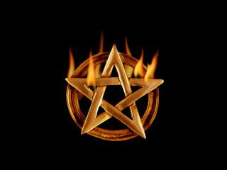 Fünfstrahliger Stern mit Flammen