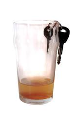 car keys in beer pint glass