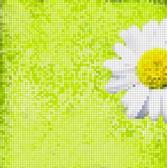 Poster Pixel fondo cuadriculado margarita