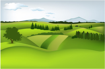 Wall Murals Lime green Mountain spring landscape