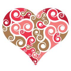 Heart shape with swirls
