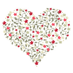 Heart shape with floral elements