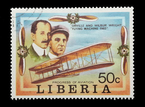 liberian stamp celebrating the wright brothers first flight