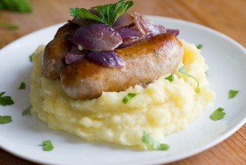 Sausages with mashed potatoes