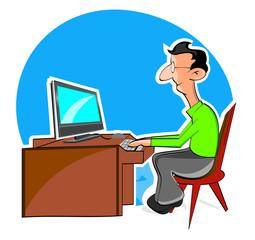 Cartoon man typing on Keyboard