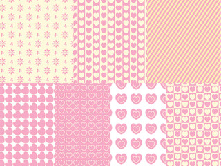 7 Vector Heart and Eyelet  Background Swatches