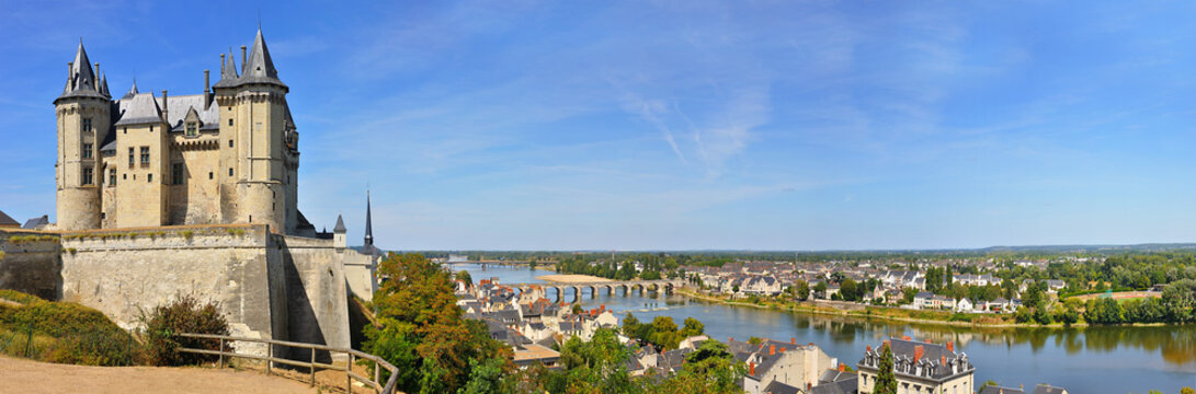panorama the chateau at saumur on the banks of the river loire