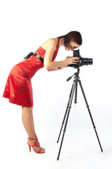 beautiful female photographer in red dress