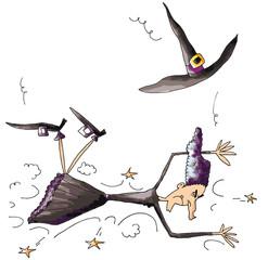 Accident de balai pour la sorcière