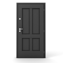 3d grey door on white background