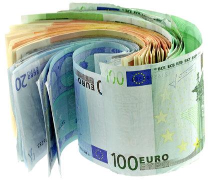 liasse billets euros fond blanc