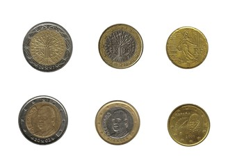 euro coins, france and spain
