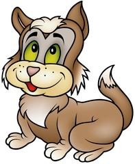 Sitting Kitten - colored cartoon illustration