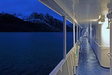 Boat trip in W. Greenland fjord.