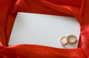 Invitation card on silk background